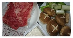 Materials Of The Sukiyaki Dish  Beach Towel