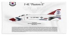 Mcdonnell Douglas F-4e Phantom II Thunderbird Beach Towel by Arthur Eggers