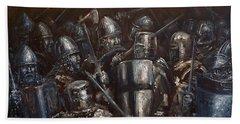 Medieval Battle Beach Towel by Arturas Slapsys