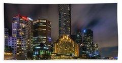 Melbourne City Skyline Over Yarra River  Beach Towel