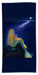 Beach Towel featuring the painting Mermaids Sweet Babies Moon by Leslie Allen