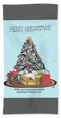 Merry Christmas Beach Towel by Quwatha Valentine