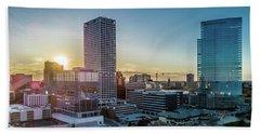 Beach Sheet featuring the photograph Milwaukee Sunset by Randy Scherkenbach