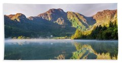 Beach Towel featuring the photograph Misty Dawn Lake by Ian Mitchell