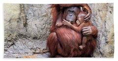 Mom And Baby Orangutan Beach Sheet
