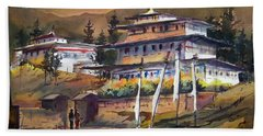 Monastery In Himalaya Mountain Beach Towel