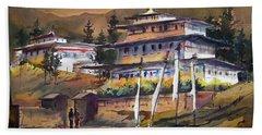 Monastery In Himalaya Mountain Beach Sheet by Samiran Sarkstery in Himalaya Mountainar