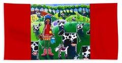 Moo Cow Farm Beach Towel by Jackie Carpenter