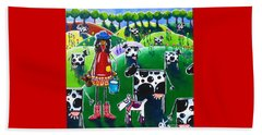 Moo Cow Farm Beach Sheet by Jackie Carpenter