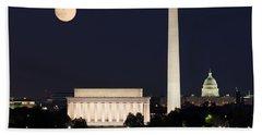 Moon Rising In Washington Dc Beach Towel
