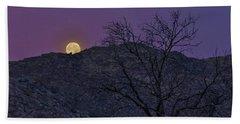 Moon Set At Sunrise Beach Towel