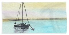 Moored Sailboat Beach Towel by R Kyllo