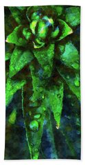 Morning Dew On Plant Beach Towel by Phil Perkins