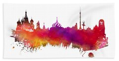 Moscow Skyline Beach Towel by Justyna JBJart