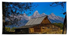 Beach Towel featuring the photograph Moulton Barn by Norman Hall
