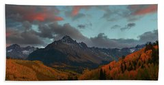 Mount Sneffels Sunset During Autumn In Colorado Beach Sheet