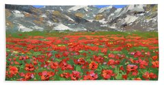 Beach Towel featuring the painting Mountain Poppies  by Dmitry Spiros