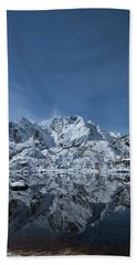 Mountain Reflection Beach Sheet by Frank Olsen