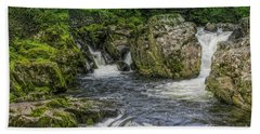 Mountain Waterfall Beach Sheet by Ian Mitchell