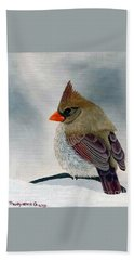 Beach Towel featuring the painting Mrs. Cardinal by Tracey Goodwin
