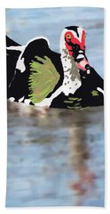 Beach Towel featuring the painting Muscovie Duck by Rosalie Scanlon