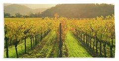Napa Valley California Vineyard In The Fall Beach Sheet