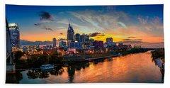 Nashville Skyline Panorama Beach Towel by Brett Engle