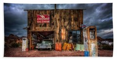 Nelson Nevada, Weathered Garage, Car, And Gas Pump Beach Sheet