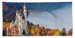 Neuschwanstein Castle In Autumn Colours Beach Towel