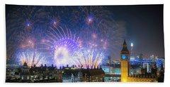New Year Fireworks Beach Towel