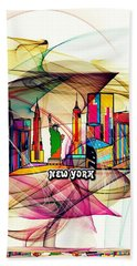 Beach Towel featuring the digital art New York By Nico Bielow by Nico Bielow