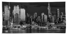 Beach Towel featuring the photograph New York City Skyline Pride Bw by Susan Candelario