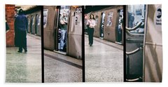 Beach Sheet featuring the photograph New York City Subway Stare by Lars Lentz
