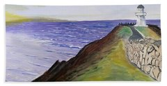 Beach Towel featuring the painting New Zealand Lighthouse by Kevin Daly
