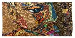 Beach Towel featuring the tapestry - textile Nina Simone Fragmented- Mississippi Goddamn by Apanaki Temitayo M