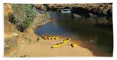 Nitmiluk Gorge Kayaks Beach Towel by Tony Mathews