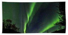 Northern Lights, Aurora Borealis At Kantishna Lodge In Denali National Park Beach Sheet by Brenda Jacobs