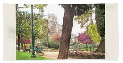 Beach Sheet featuring the photograph Notre Dame From Square Rene Viviani by Felipe Adan Lerma