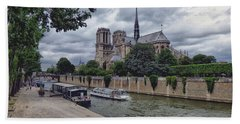 Notre Dame Paris Beach Towel by Lynn Bolt