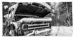 Old Abandoned Pickup Truck In The Snow Beach Towel