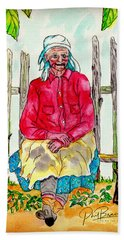 Old Migrant Worker, Resting, Arcadia, Florida 1975 Beach Towel