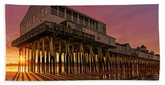 Old Orchard Beach Pier Sunset Beach Towel