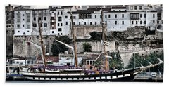 Old Port Mahon And Italian Sail Training Vessel Palinuro Hdr Beach Towel