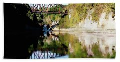Beach Towel featuring the photograph Old Railway Bridge Over The Winooski River by Joseph Hendrix
