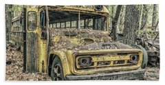 Old School Bus Beach Towel