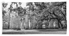 Old Sheldon Church - Tree Canopy Beach Towel by Scott Hansen
