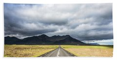 On The Road In Iceland Beach Sheet