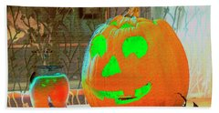 Orange Halloween Decoration Beach Towel