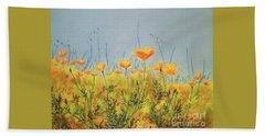 Orange Poppies Beach Towel