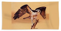 Beach Sheet featuring the pyrography Osprey by Ron Haist